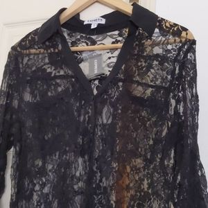 New Express Lace Portofino Blouse Black